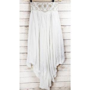 Free People White Asymmetrical Boho Skirt